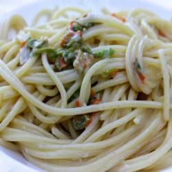 Spaghetti con Fiori di Zucca (Zucchini Blossoms)
